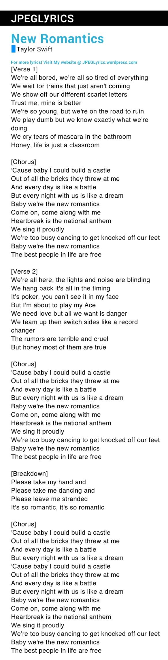 New Romantics By Taylor Swift Lyrics Jpeg Lyrics